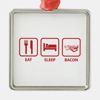 睡眠のベーコンを食べて下さい メタルオーナメント