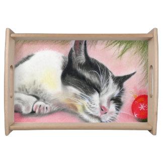 睡眠のメリークリスマスの子ネコ猫のサービングの皿 トレー