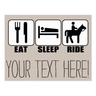 睡眠の乗車を馬の乗馬の乗馬食べて下さい ポストカード
