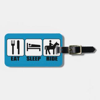 睡眠の乗車を馬の旅行のライダーのバッグのラベル食べて下さい ラゲッジタグ