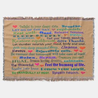 睡眠の健康な単語のコラージュ スローブランケット