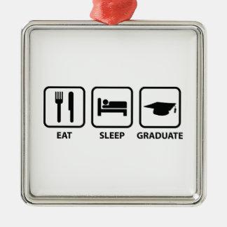 睡眠の卒業生を食べて下さい メタルオーナメント