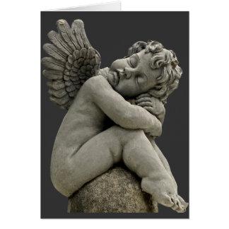 睡眠の天使の天使の彫刻の挨拶状 カード