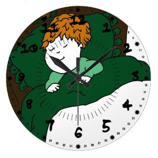 睡眠の子供 ラージ壁時計