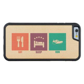 睡眠の操業を食べて下さい CarvedメープルiPhone 6バンパーケース