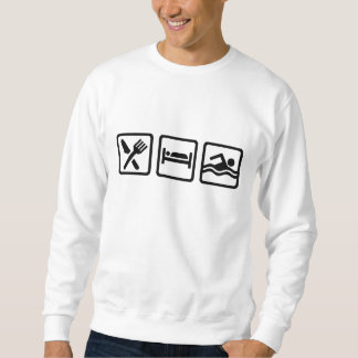 睡眠の水泳を食べて下さい スウェットシャツ