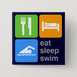 睡眠の水泳を食べて下さい 5.1CM 正方形バッジ