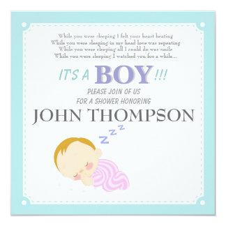 睡眠の男の赤ちゃんの青い装飾カード カード