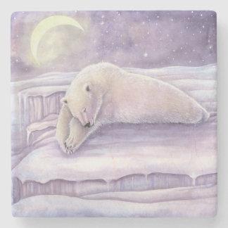 睡眠の白くまの冬場面月の芸術 ストーンコースター