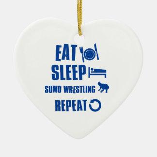 睡眠の相撲レスリングを食べて下さい セラミックオーナメント