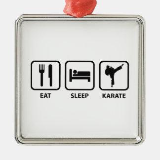 睡眠の空手を食べて下さい メタルオーナメント