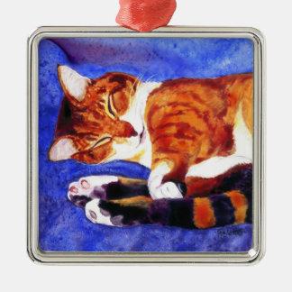 睡眠の虎猫猫のオーナメント メタルオーナメント
