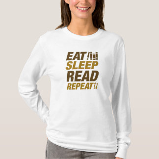 睡眠の読書の繰り返しを食べて下さい Tシャツ