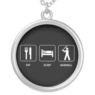 睡眠の野球のネックレスを食べて下さい シルバープレートネックレス