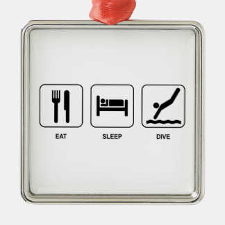睡眠の飛び込みを食べて下さい メタルオーナメント