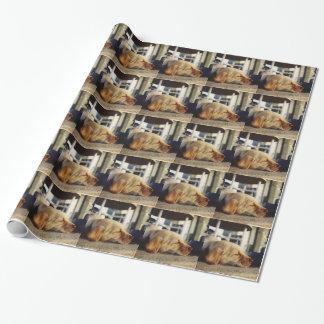 睡眠の黄色いラブラドールの子犬の包装紙 ラッピングペーパー
