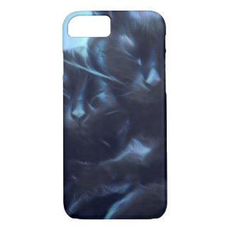 睡眠の黒猫、青/黒 iPhone 8/7ケース