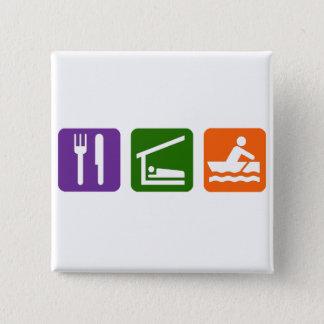 睡眠のCrewingを食べて下さい 5.1cm 正方形バッジ