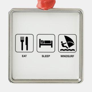 睡眠をウィンドサーフィンをします食べて下さい メタルオーナメント