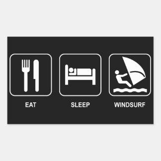 睡眠をウィンドサーフィンをします食べて下さい 長方形シール