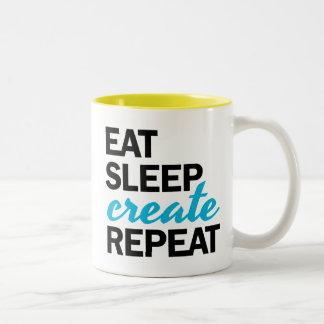 睡眠を作成します繰り返しのマグを食べて下さい ツートーンマグカップ