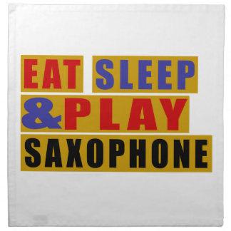 睡眠を食べ、サクソフォーンを演奏して下さい ナプキンクロス