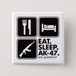 睡眠カラシニコフ自動小銃-黒--を食べて下さい 5.1CM 正方形バッジ
