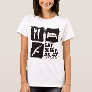 睡眠カラシニコフ自動小銃-黒--を食べて下さい Tシャツ
