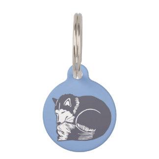睡眠ハスキーで青くカスタムな円形犬のペットタグ ペット ネームタグ