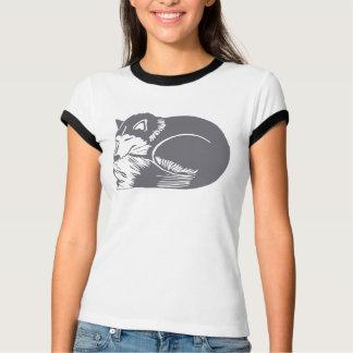 睡眠ハスキーな犬の女性信号器のTシャツ Tシャツ
