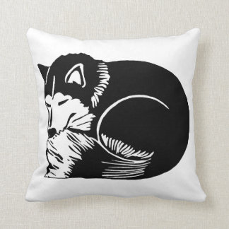 睡眠白黒ハスキーな犬の枕 クッション