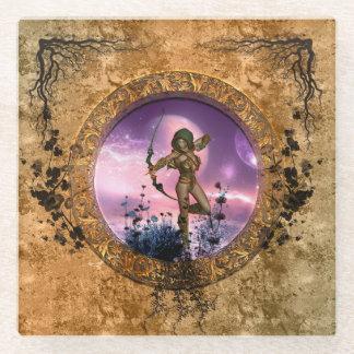 矢および弓を持つ美しい妖精 ガラスコースター