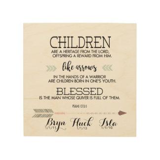 矢との子供の名前の聖なる書物、経典の詩 ウッドウォールアート