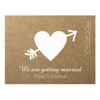 矢ののどクラフトとの保存日付の結婚式のハート ポストカード