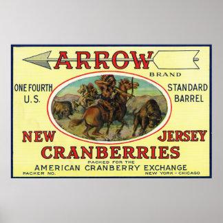 矢のブランドのクランベリーのラベル ポスター