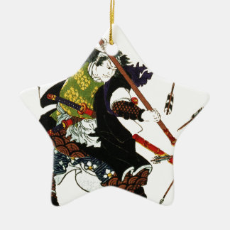 矢の日本人の日本芸術を逸らしているRoninの武士 セラミックオーナメント