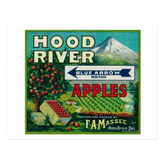 矢のAppleの木枠のLabelHoodの青い川、または ポストカード