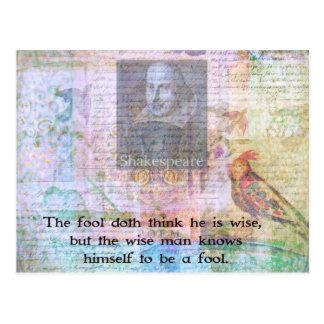知恵および愚か者についてのウィリアム・シェイクスピアの引用文 ポストカード