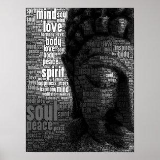 知恵の仏教の単語 ポスター