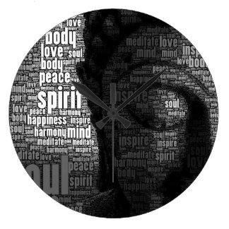 知恵の仏教の単語 ラージ壁時計
