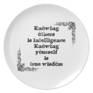 知恵の哲学のタオクールですばらしくシンプルな文 プレート