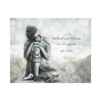 知恵の引用文の平和な銀製の仏 キャンバスプリント