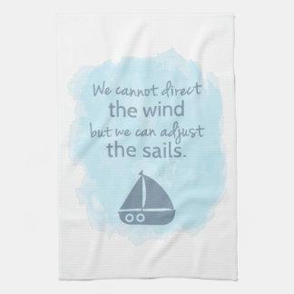 知恵の航海のな帆ボートの引用文の単語 キッチンタオル