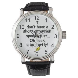 短い注意力の蝶 腕時計