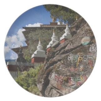 石およびネパールのchortensのBhutaneseの執筆 プレート