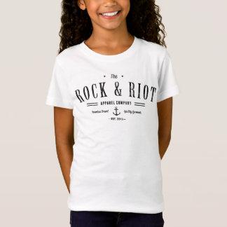 石および暴動の黒くグランジないかりのロゴのティー Tシャツ