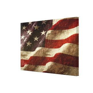 石で切り分けられる米国旗 キャンバスプリント