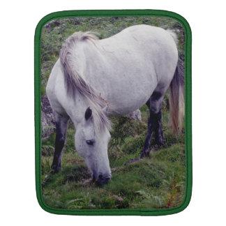 石で牧草を食べているDartmoorの灰色の子馬 iPadスリーブ