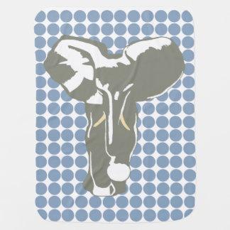 石のポップアート象が付いている青いサファリの点 ベビー ブランケット