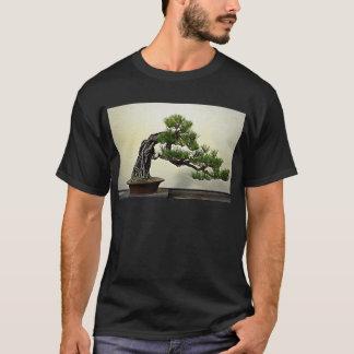 石のマツ盆栽の木上の根 Tシャツ